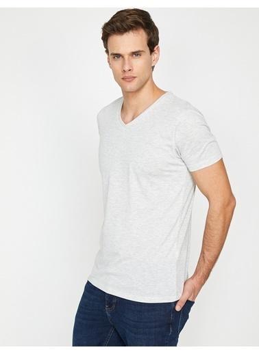 Koton V Yaka T-Shirt Gri
